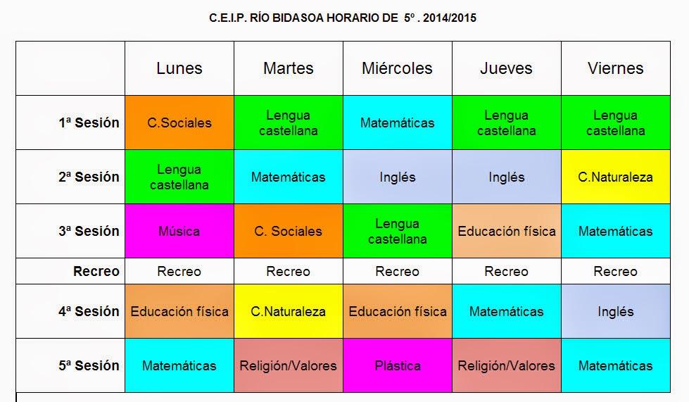 HORARIO 5º