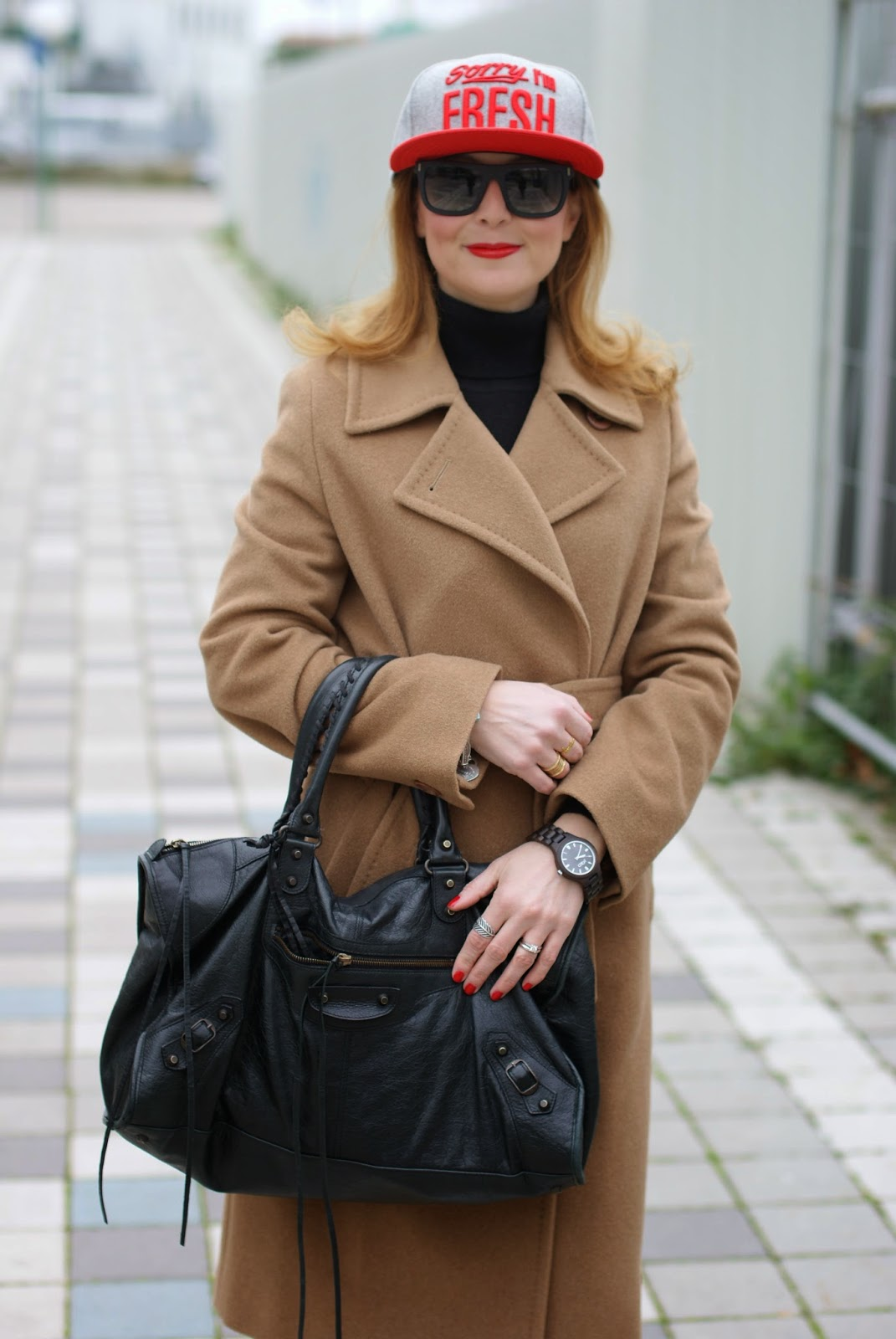 New Era cap, Jord Fieldcrest watch, Max Mara camel coat worn with Adidas Stan Smith and Balenciaga Work bag on Fashion and Cookies fashion blog, fashion blogger italiana