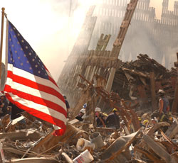 New York's World Trade Center after Sept. 11, 2001 attack. FEMA photo by Andrea Booher.