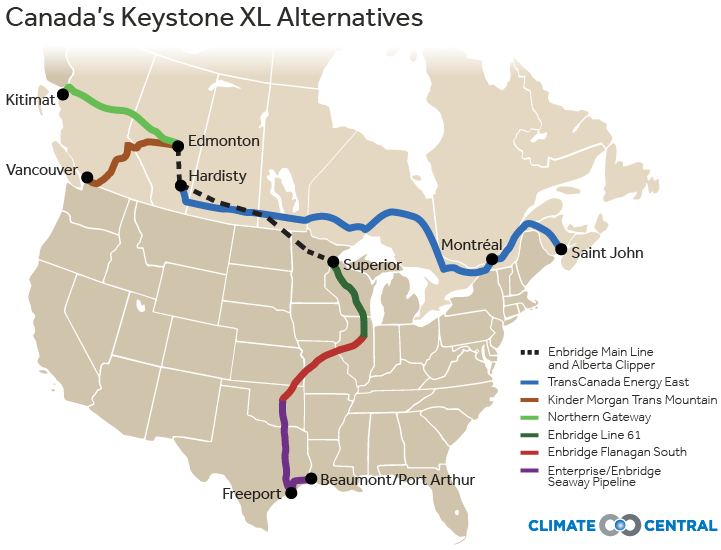 Canada's Keystone XL Alternatives (Credit: Climate Central) Click to Enlarge.