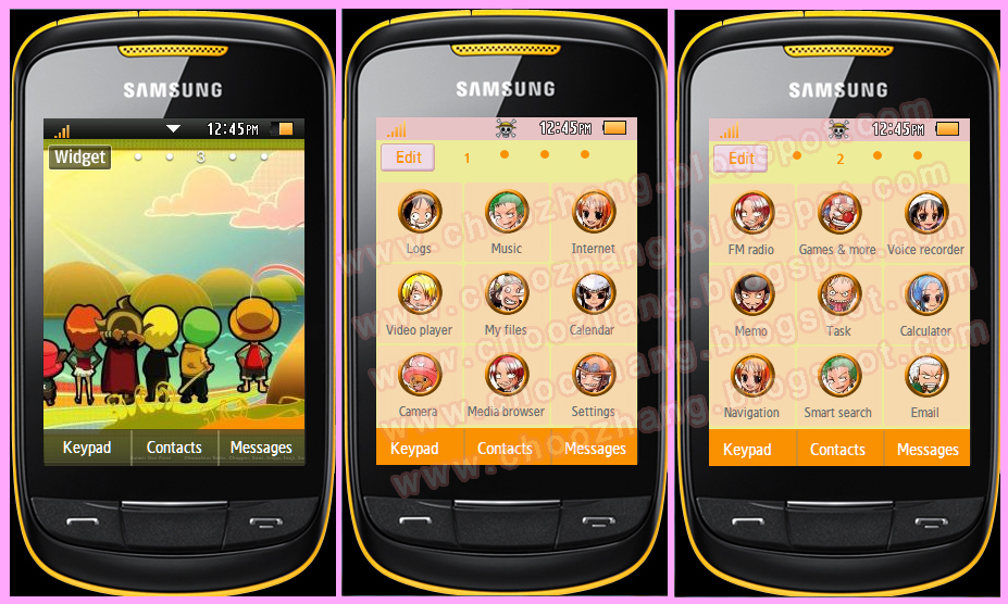 Samsung Corby 2 or S3850 - One Piece Chibi Theme
