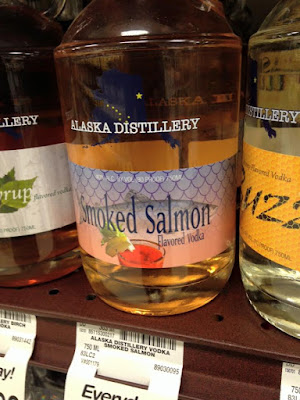 smoked salmon flavored vodka in Safeway on Kodiak Island, Alaska