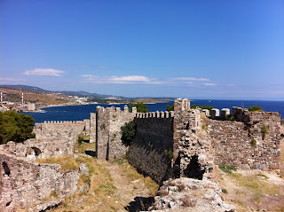 The inner walls of Mytilene Castle on Lesbos, Greece.