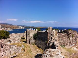 The inner walls of Mytilene Castle on Lesbos, Greece.