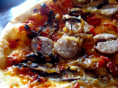 Sweet Italian Sausage Pizza at Barlow's Restaurant in Boston, MA - Photo by Taste As You Go