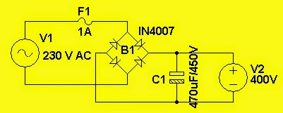 Make 400v Dc From 220v Ac Circuit on 12v battery charger circuit simple