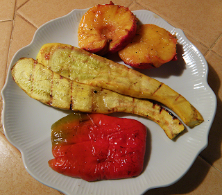 Plate of Summer Squash, Red Bell Pepper, Peaches