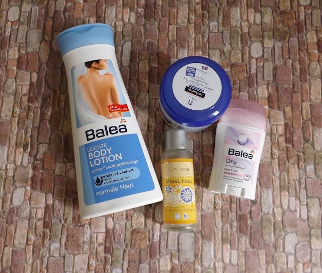 Balea - Leichte Bodylotion, Neutrogena - Sofort einziehende Feuchtigkeitscreme, Saloos - Körperöl, Balea - Dry Deo Stick