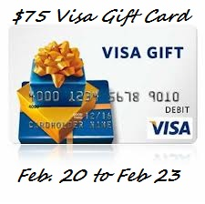 visa5 $75 Visa Gift Card Giveaway! (Feb. 19th   Feb. 23rd)