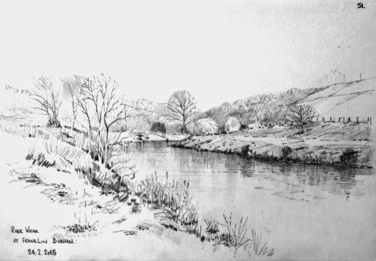 Line Drawing River : Malcolm coils pencil sketches