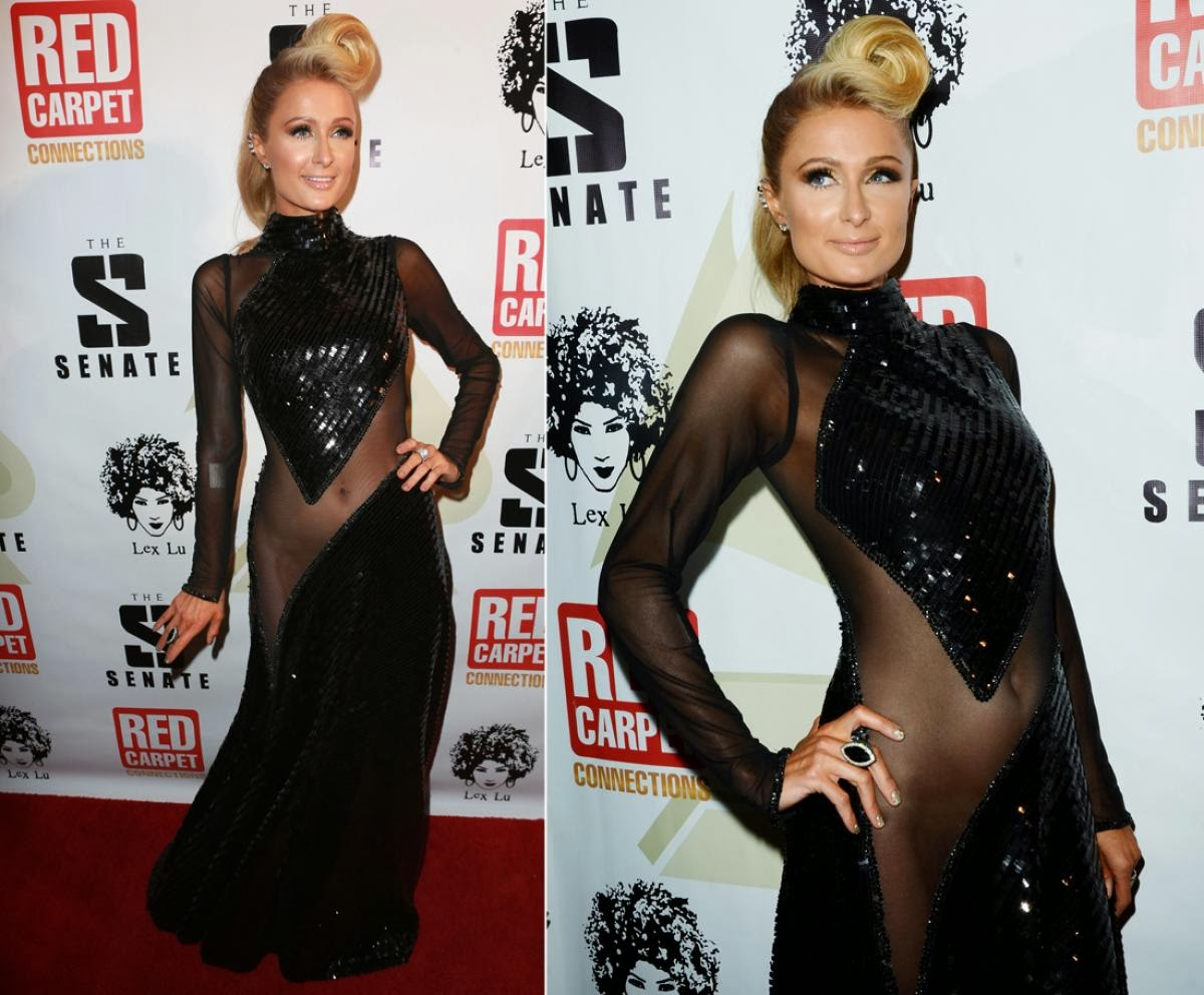 Paris Hilton in Sheer clothing at pre-Grammy party HQPictures
