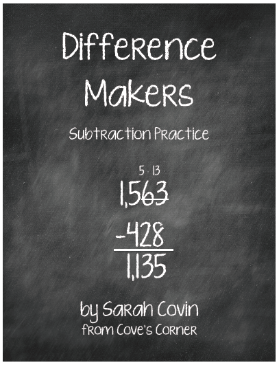 http://www.teacherspayteachers.com/Product/Difference-Makers-Subtraction-Practice-1106953