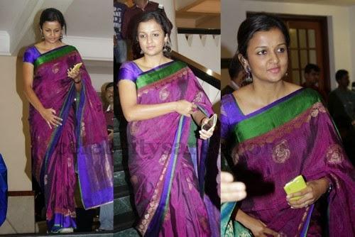 Tamil Actress Purple Chanderi Saree Saree Blouse Patterns