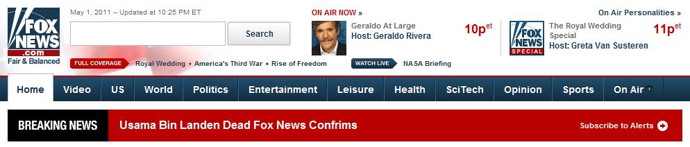 Usama Bin Landed Dead Fox News Confrims