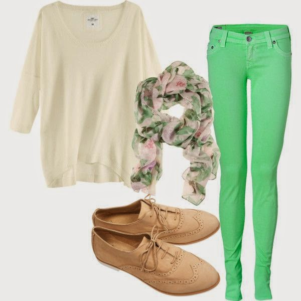 Green Slim Pants And Baggy Beige Sweater