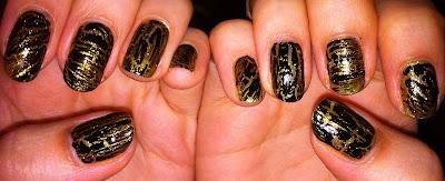 opi, shatter, nail art, black