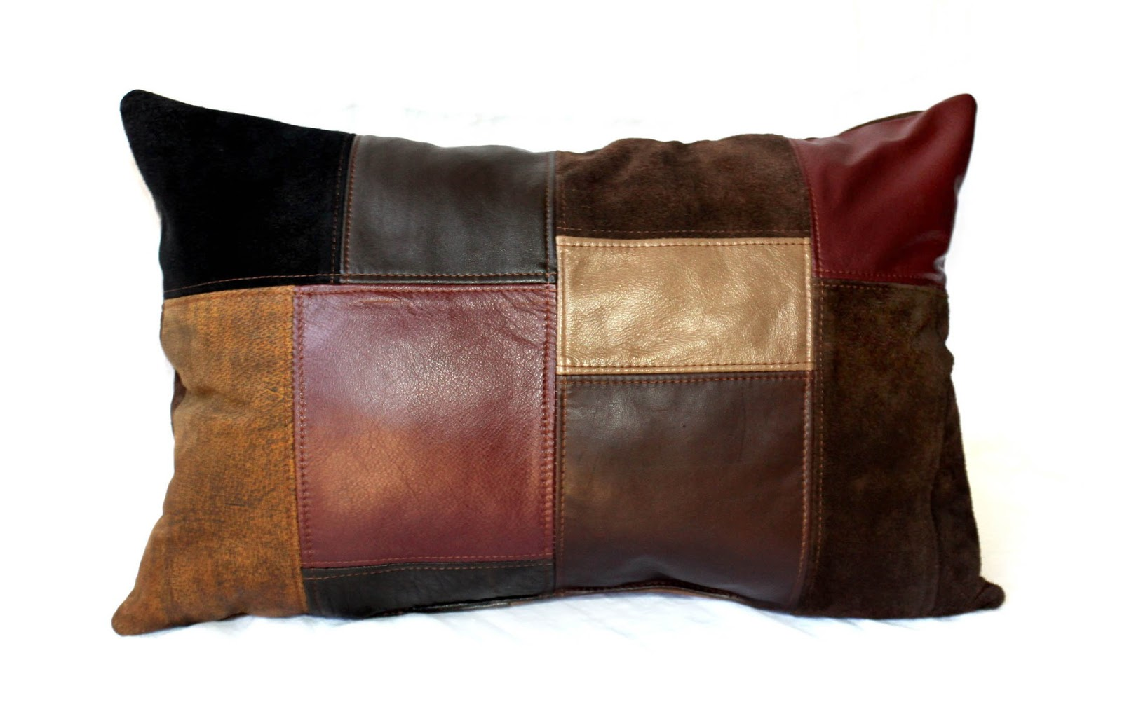 Uptown Redesigns Upcycled Leather Patchwork Pillows