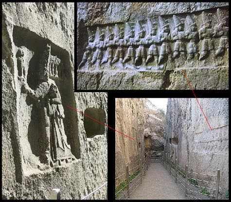Yazilikaya, santuario, hitita, heteo, jeroglíficos, mundo antiguo, Texier, pangea, arte hitita, divinidades hititas, dioses hititas, Bogazkoy, Hattusa