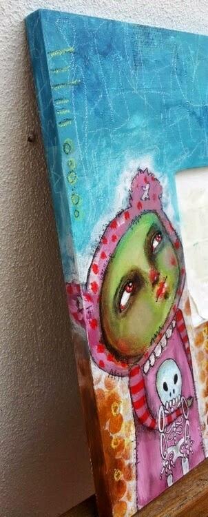 Whoopidoo...ings: Zombie Bear Girl - mixed media on Ikea mirror frame.
