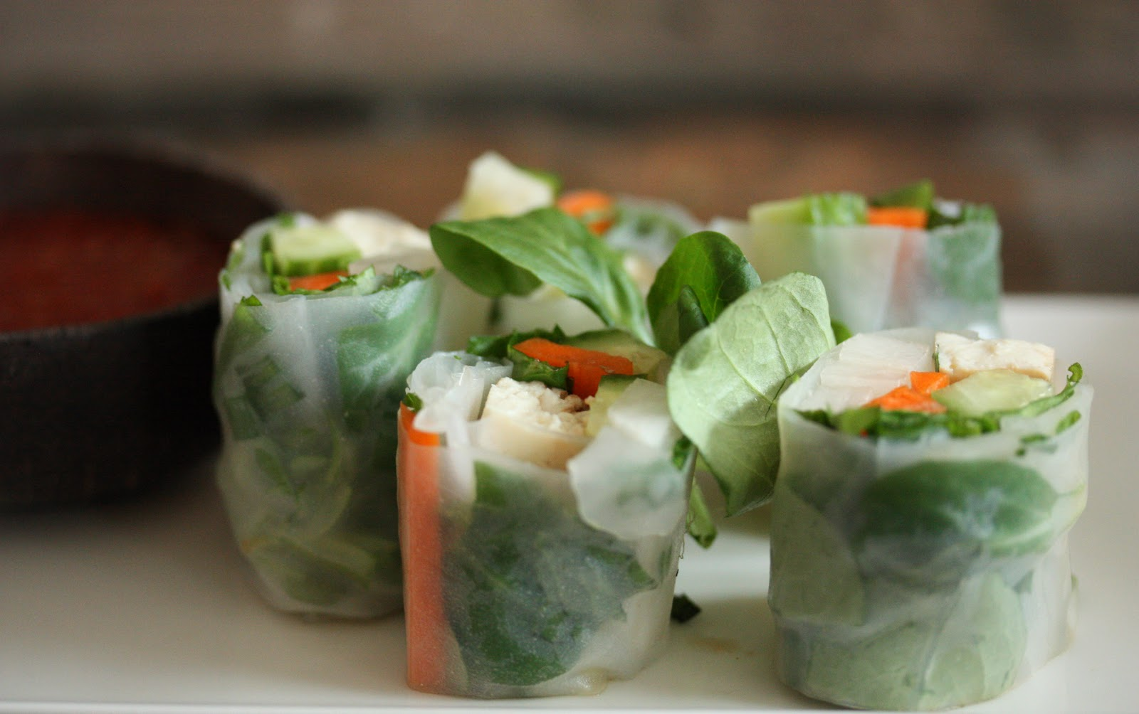 baked tofu and sweet and savory dipping sauce summer rolls with baked ...