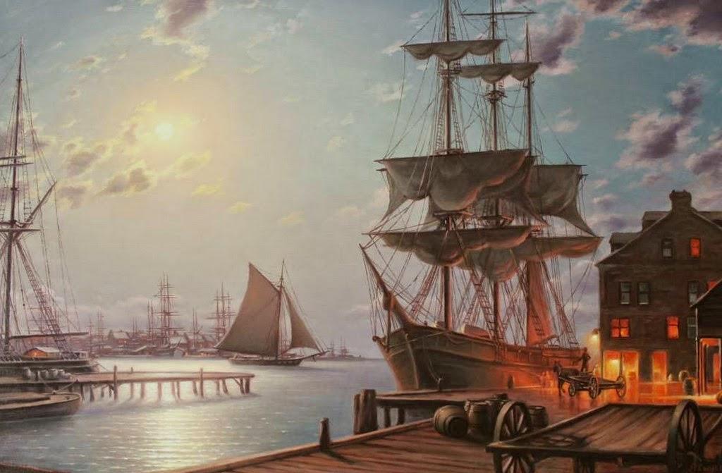 paisajes-de-puertos-con-barcos-al-oleo
