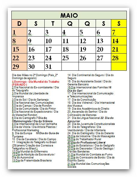 Calendario 2015 Datas emorativas