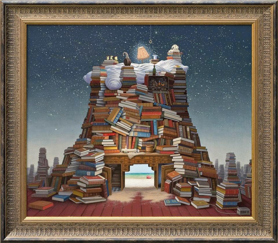 12-Night-reading-Jacek-Yerka-Surreal-Paintings-Parallel-Universes-www-designstack-co
