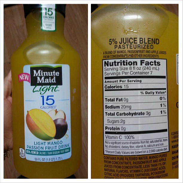 I Had Picked Up The Pink Lemonade Version And Since It Was So Good, I  Decided To Try Out The Minute Maid Light 15 Calories Light Mango Passion  Fruit Drink. Nice Ideas