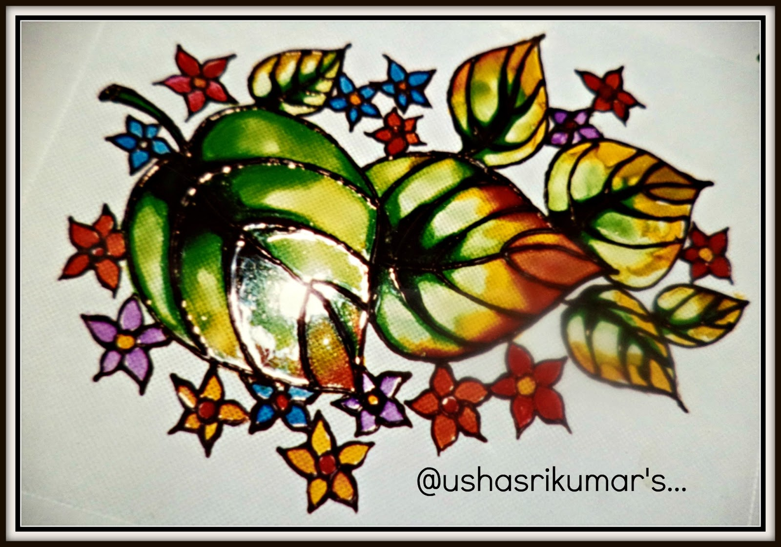 Simple glass paintings of flowers for Simple glass painting pictures