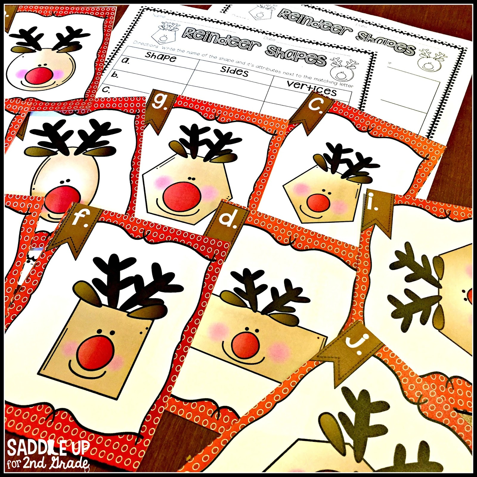 2D Reindeer Shape FREEBIE by Saddle Up For 2nd Grad