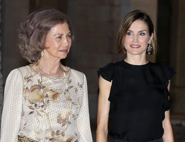 King Felipe, Queen Letizia, Queen Sofia attend a official reception at the Almudaina Palace