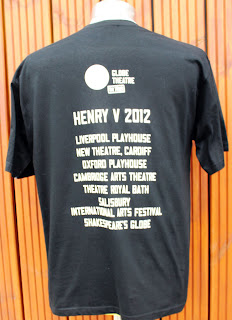 Picture of back of Henry V T-Shirts printed by Logopress London for The Shakespeare Globe showing the tour venues
