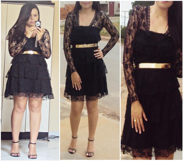 Looks com vestido de renda preto