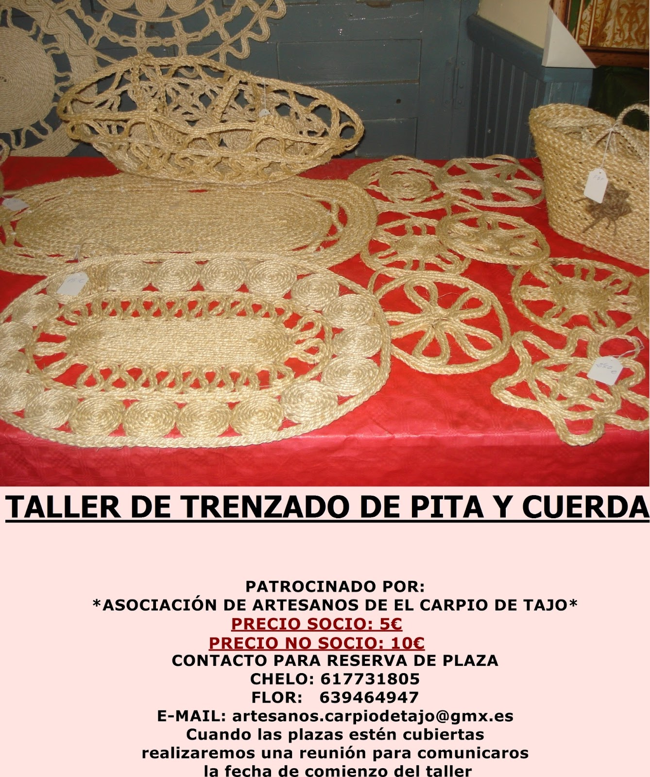 Artesanos de el carpio de tajo taller de pita y cuerda for Cuerda de pita