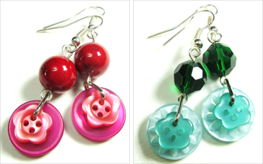 Long drop dangle earrings with fun flower buttons and colorful beads