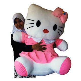 Gambar boneka hello kitty super jumbo pink lucu
