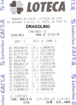 DRAGOLINO DO FLORENÇA - RECIBO