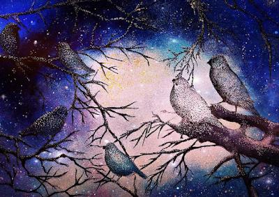 lukisan burung cantik