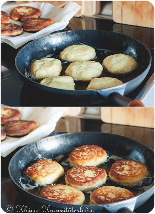 Kartoffelplätzchen in der Pfanne