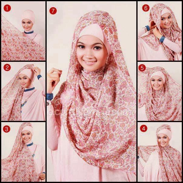 Tutorial Cara Pakai Hijab Cara Berjilbab dengan Pashmina Motif