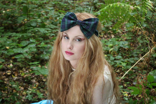 green tartan bow headband