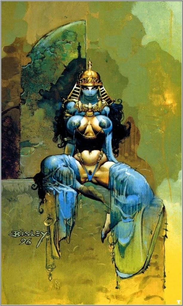 Dessin de Simon Bisley représentant une femme orientale sexy et voluptueuse