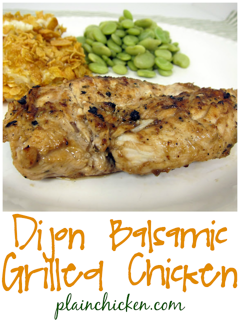 Dijon Balsamic Grilled Chicken - chicken marinated in dijon mustard, balsamic, lemon, garlic, rosemary and olive oil - can whisk together  and  refrigerate overnight for a quick dinner. This chicken is full of amazing flavor! We made it two days in a row!