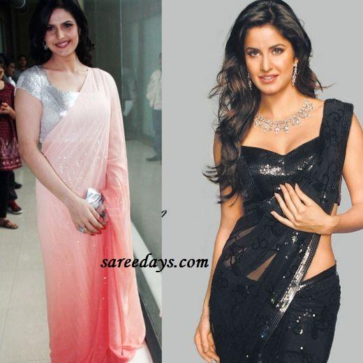 Latest saree designs katrina kaif and zarine khan in designer plain katrina kaif and zarine khan in designer plain sarees altavistaventures Images