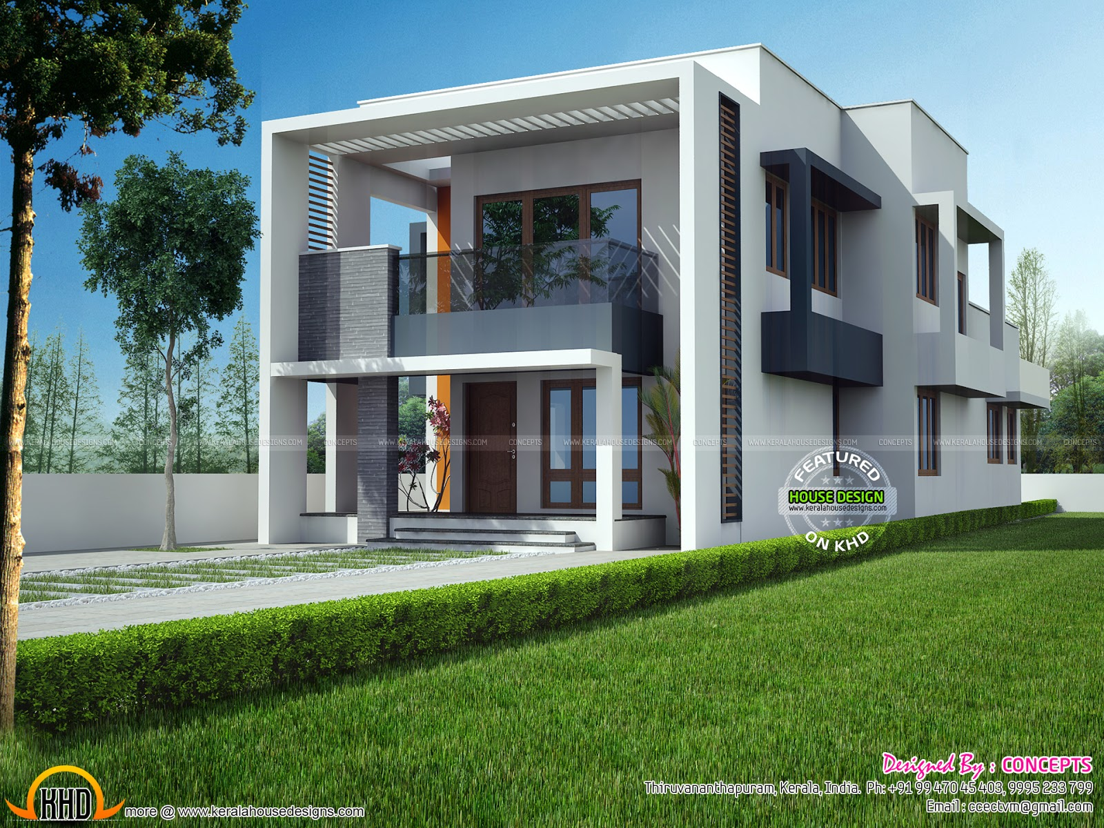 Modern house view and plan keralahousedesigns for Modern house view