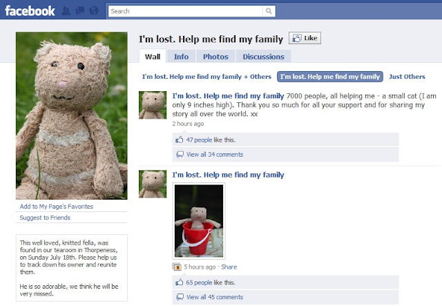 lost bear, facebook page