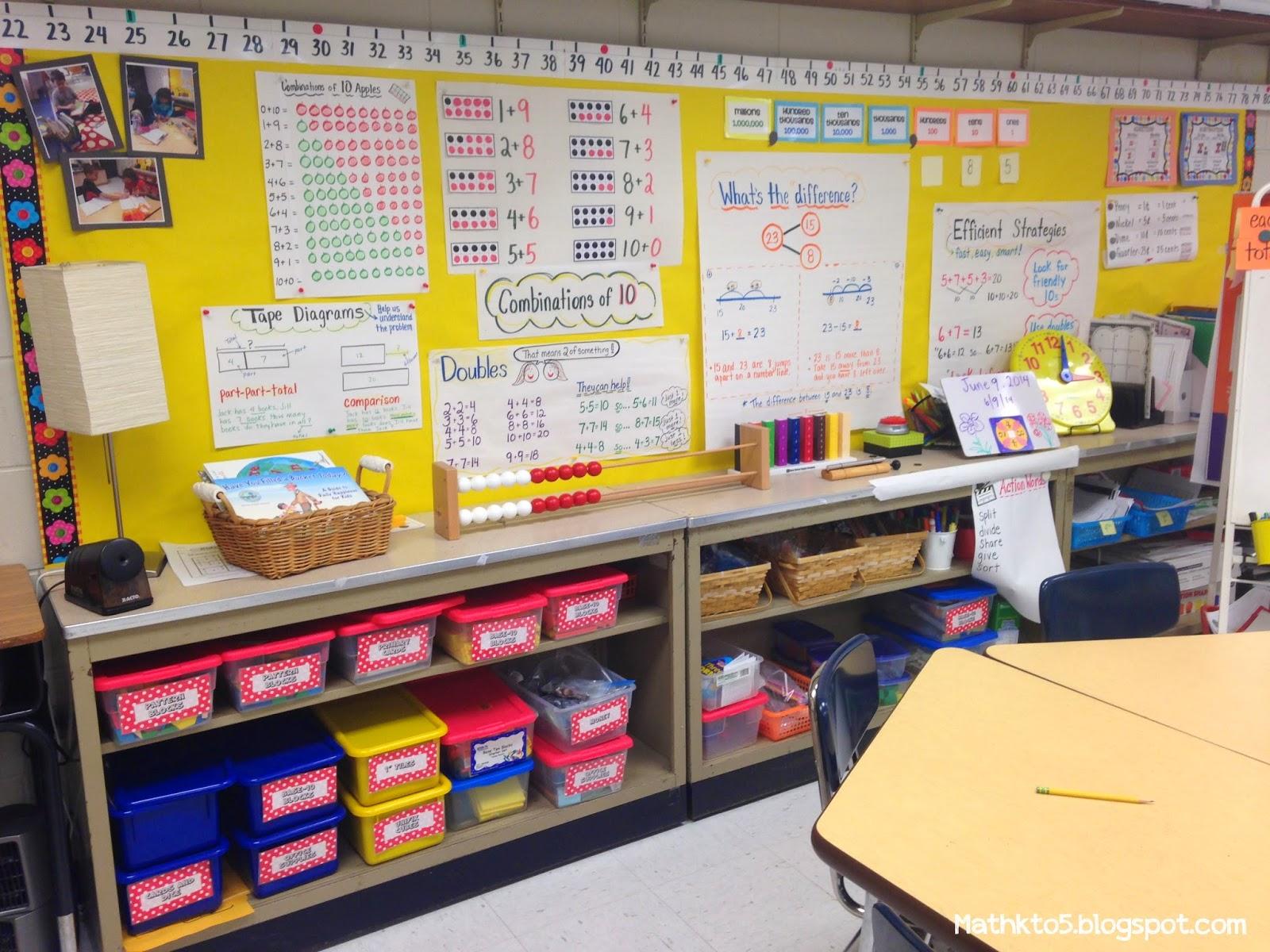 math charts, manipulatives, classroom setup