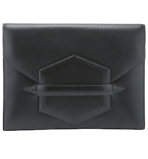 Vintage green leather Hermes 'Faco' clutch