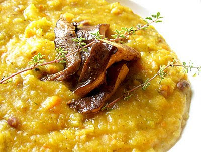 Indian-Spiced Squash, Pear and Adzuki Bean Soup with Lightly Braised Mixed Mushrooms