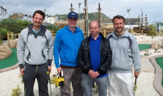 At the 2011 WMF World Adventure Golf Masters in Hastings, Alan 'Stormin' Norman and I took on Kosovo's first international players in a doubles match. From l-r Arben Alija, Richard Gottfried, Alan Norman, Lavdim Zylfiu